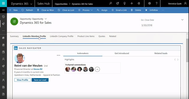 LinkedIn Dynamics 365 for sales