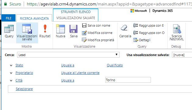 cercare i lead query dynamics 365